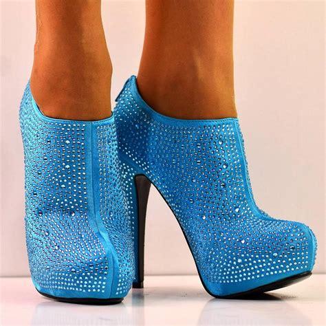 new size 6 light blue diamante glitter high heel