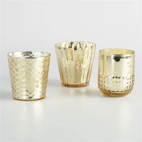 gold votive candle holders gold mercury glass votive candleholders set of 3 world
