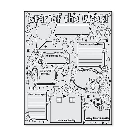 color your own star of the week posters oriental trading