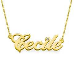 Gold Necklace Name Collier Personnalis 233 Or Et Diamant Avec Pendentif Pr 233 Nom Moncollierprenom