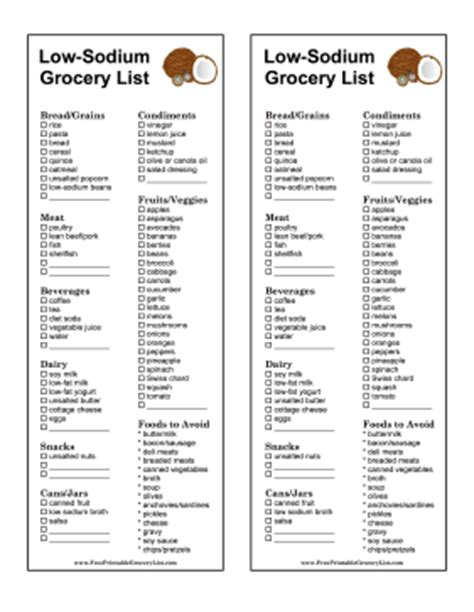 low sodium food printable low sodium grocery list