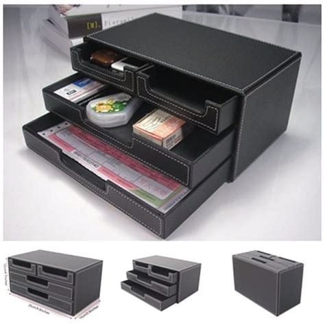 office supplies desk organizer leather stationery box desktop decor organizer drawer desk