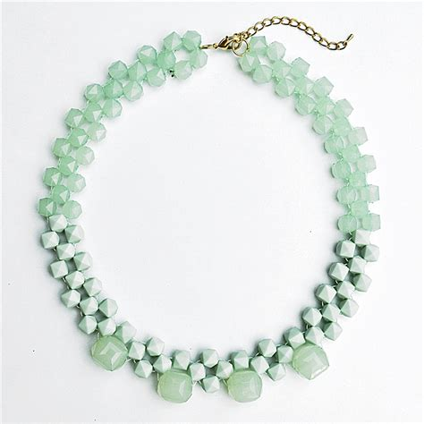 collar beaded necklace beaded collar necklace statement bib necklace with mint