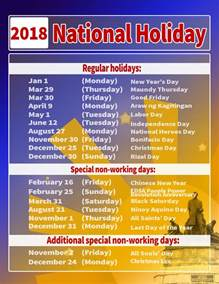 2018 Calendar Philippines With Holidays Malaca 241 Ang Issues List Of Regular And Special Holidays For