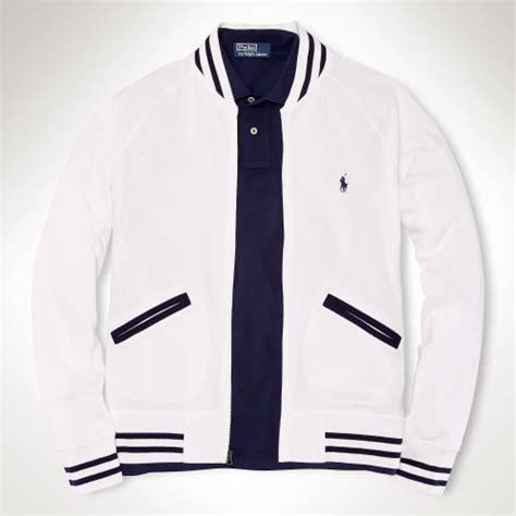 Jaket Basball Merah Putih Polos 1 polo ralph mesh baseball jacket in blue for lyst