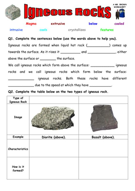 Rock Worksheet Answers by Igneous And Sedimentary Rock Worksheet By Uk Teaching