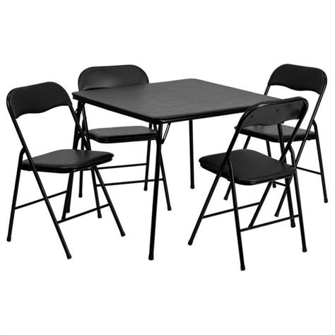 Black Folding Dining Table And Chairs 5 Folding Card Dining Table And Chair Set In Black Jb 1 Gg