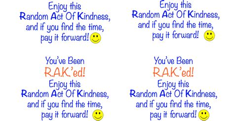 Random Acts Of Kindness Cards Templates by Random Act Of Kindness Printable Simplesolutionsdiva