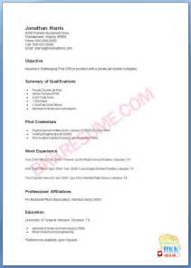 Pilot Resume Exles by Pilot Resume Formay