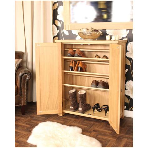 Hallway Shoe Storage Cabinet Salisbury Oak Home Furniture Hallway Shoe Storage Cabinet Rack Cupboard Ebay