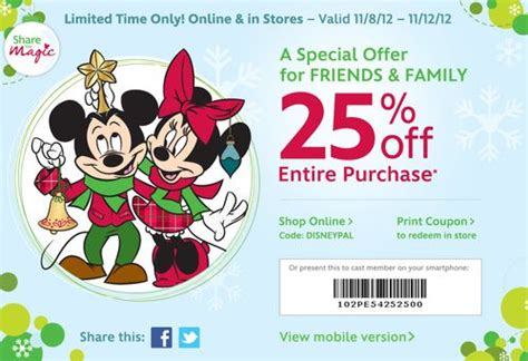 disney outlet printable coupons disney store canada 25 discount friends family event