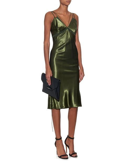 Satin Silk 10 wang braid detail silk satin dress in green lyst