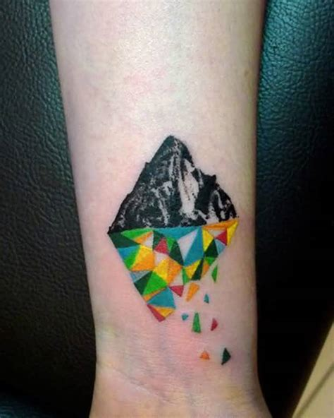 reflection tattoos 35 geometric mountains tattoos