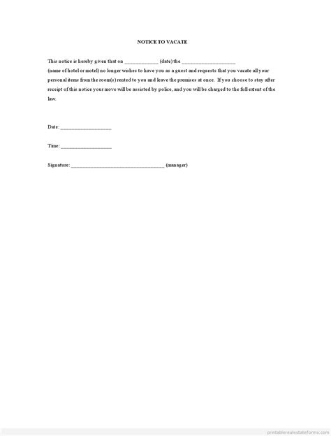 60 Day Notice Apartment Template by Written Notice To Vacate Apartment Template Image