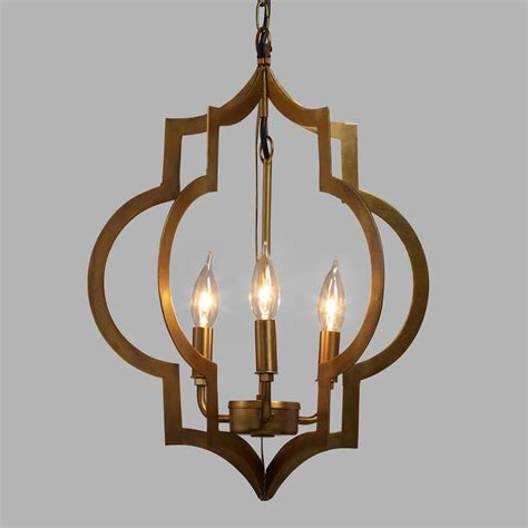 Chandeliers And Pendant Lights Gold Quatrefoil 3 Light Pendant L World Market