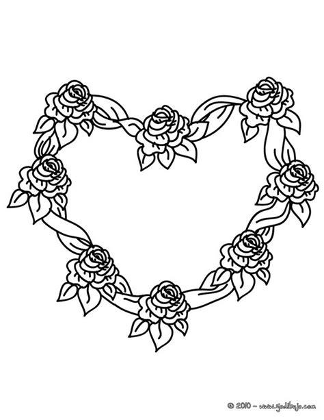 imagenes de rosas y corazones para colorear dibujos para colorear corona de rosas en forma de corazon