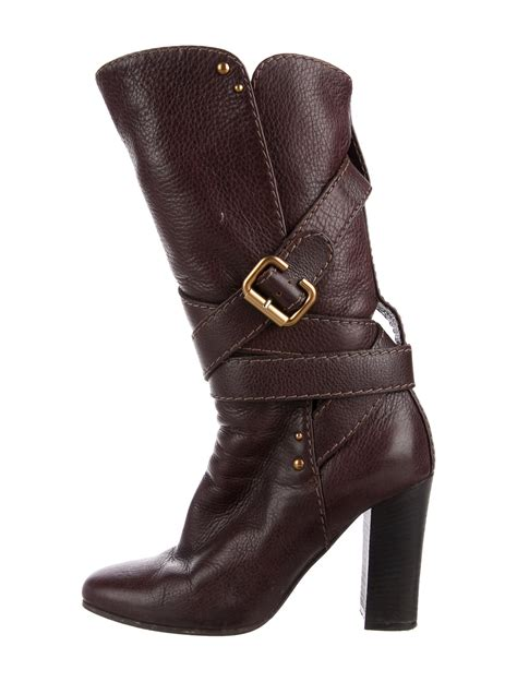 chlo 233 leather mid calf boots shoes chl61078 the realreal