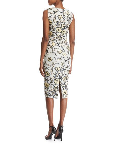 Painted Rhea Midi Dress st collection painted floral neck organza midi cocktail dress
