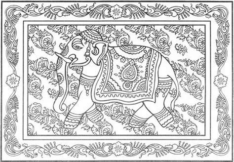 india pattern coloring page free coloring pages of intricate elephant