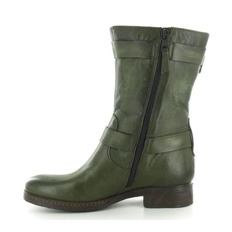 mjus 178331 womens leather ankle boots in oliva green at