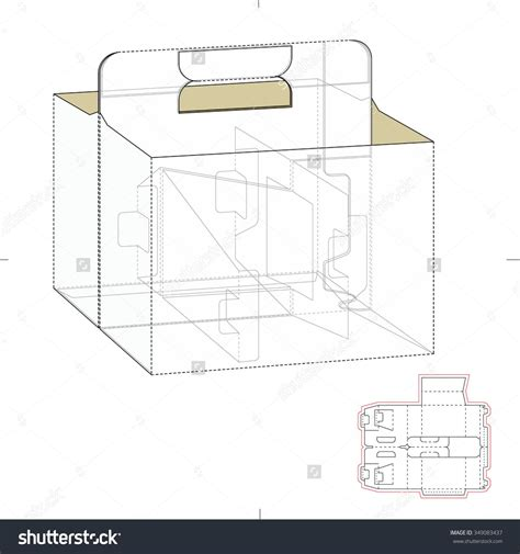 carrier box with die cut template stock vector