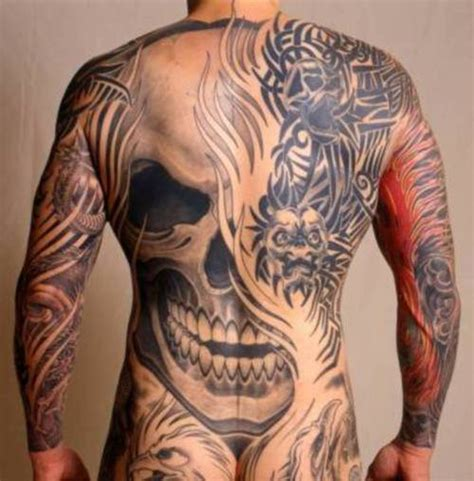 30 full back skull tattoos