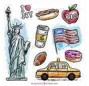 Elementos De Nueva York En Acuarela  Descargar Vectores