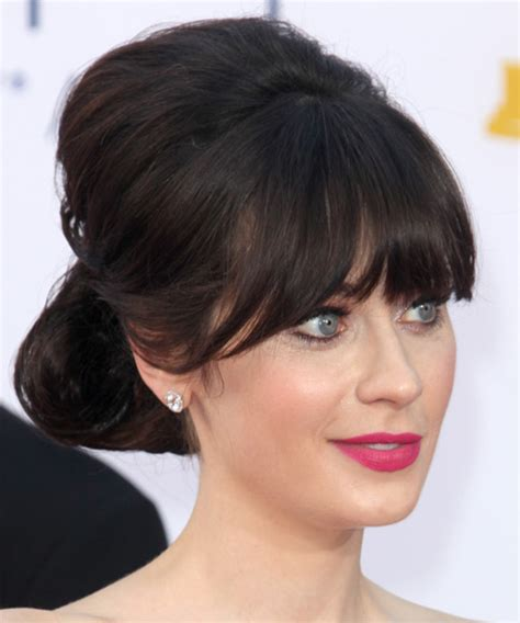 rihanna french twist updo hairstyle with wispy bangs updo hairstyles with fringe hairstyles