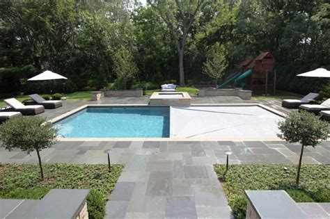 Rectangular Pool with Raised Spa   Contemporary   Patio