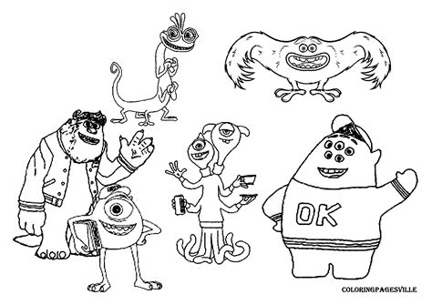 Monsters U Coloring Pages by Free Coloring Pages Of Mike Wazowski And Sulley
