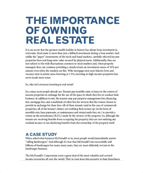 real estate business plan template free real estate business plan 11 free pdf word documemts