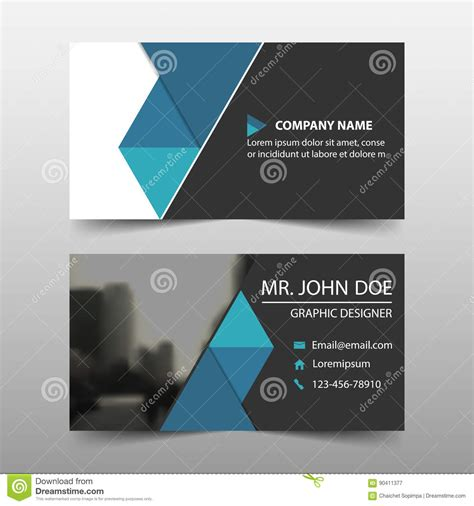 template for business name card blue triangle corporate business card name card template