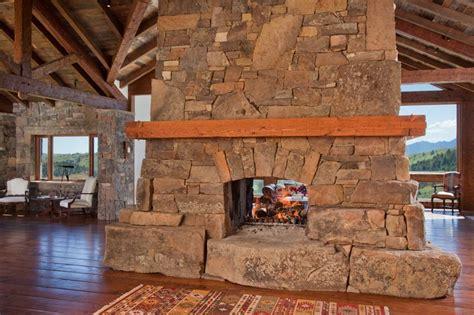 Southwest Kitchen Design rustic living room with hardwood floors amp stone fireplace