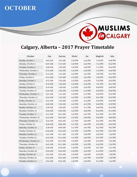 makki masjid prayer table prayers times muslims in calgary