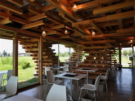 unique interior design cafe unique cafe with pile of timber as construction kureon