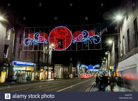 union street christmas lights aberdeen stock photo