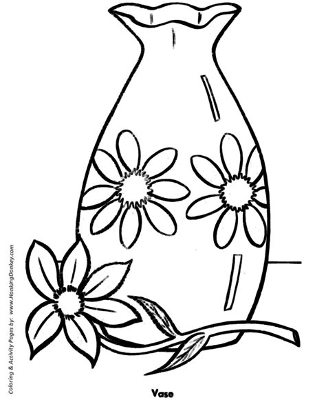 easy coloring pages free printable flower vase easy