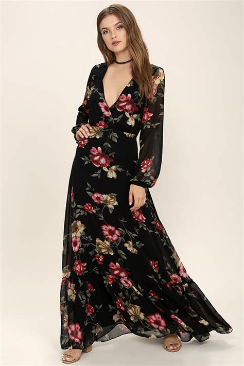 stunning black floral print dress long sleeve maxi