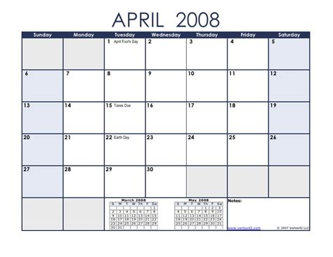 April 2008 Calendar Calendar April 2008 Related Keywords Calendar April 2008