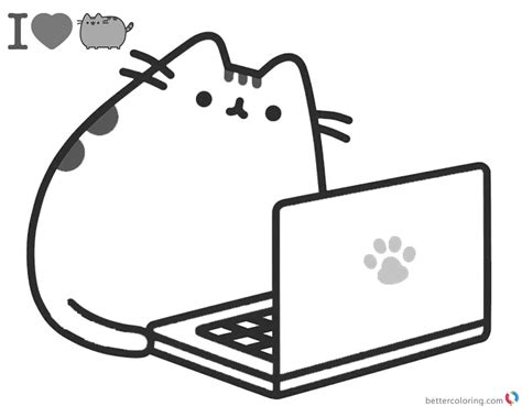 pusheen coloring pages pdf free coloring pages at pusheen coloring pages playing laptop free printable