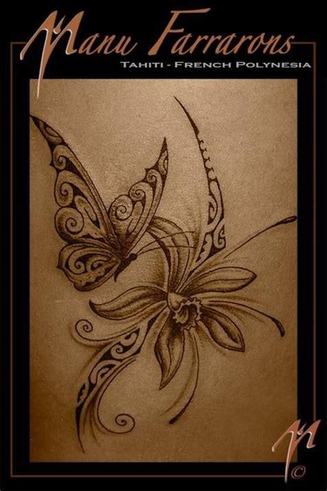 tatouage papillon fleur tattoo pinterest tahiti