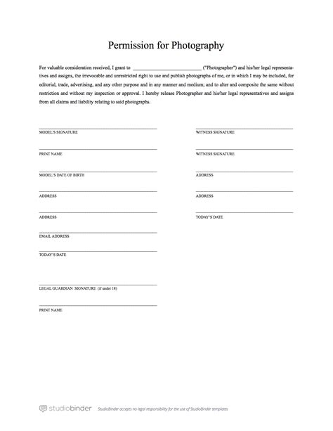 The Best Free Model Release Form Template For Photography Photo Release Template