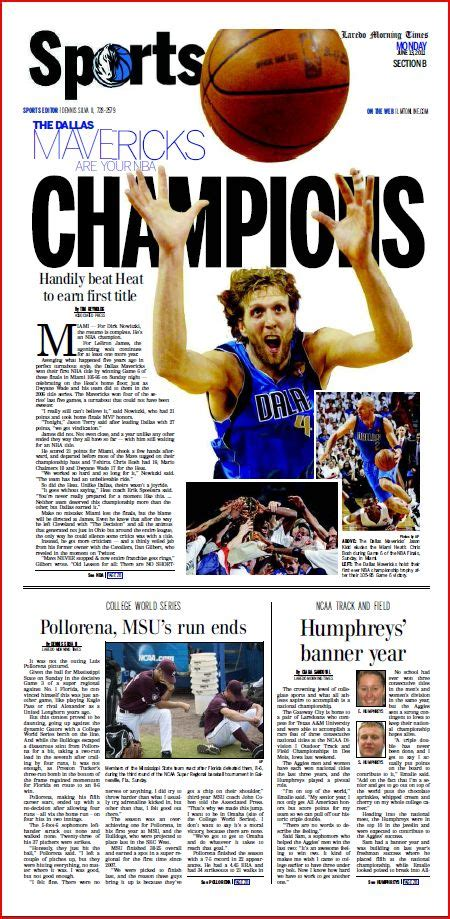 sports section of a newspaper mavericks win first ever nba title border town sports