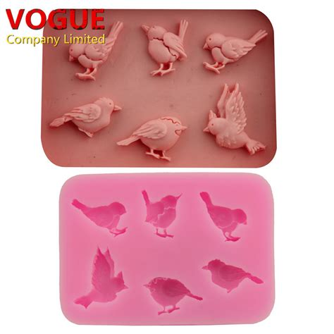 Cetakan Silicone Mold 6 6 diy various birds molds fondant chocolate silicone mold moulds food grade bakeware