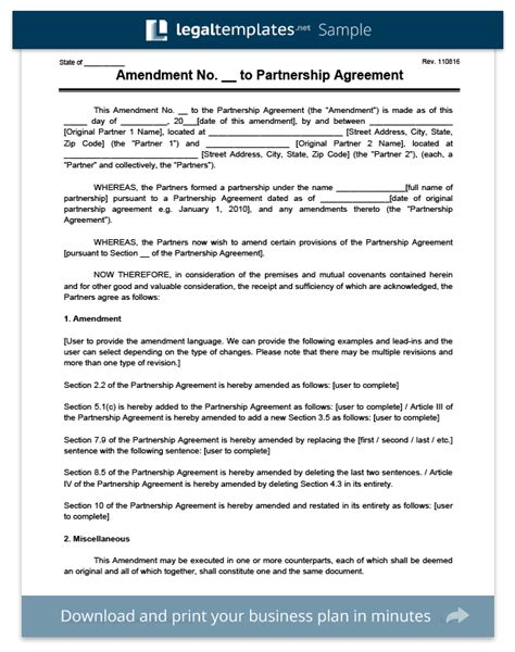 articles of partnership template create an amendment to a partnership agreement