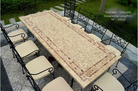 "78"" Outdoor Patio Dining Table Italian Mosaic Stone Marble   TUSCANY"