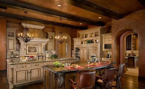 tuscan kitchen islands old world tuscan kitchen double island kitchens pinterest