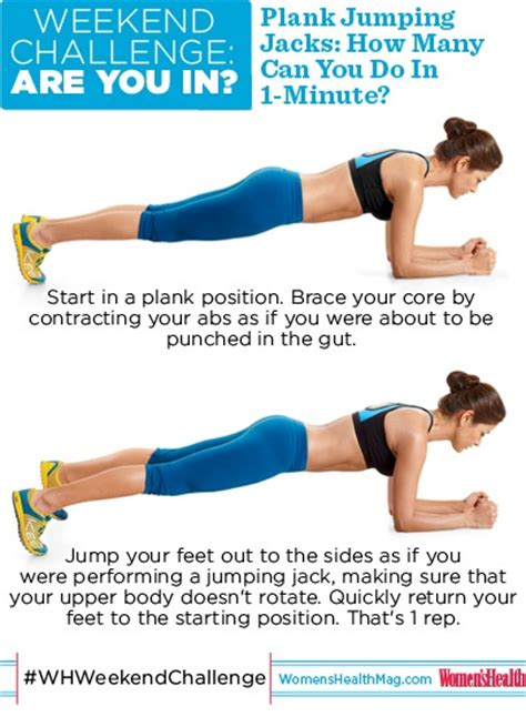 whweekendchallenge plank jumping jacks how many you do with proper form in one minute