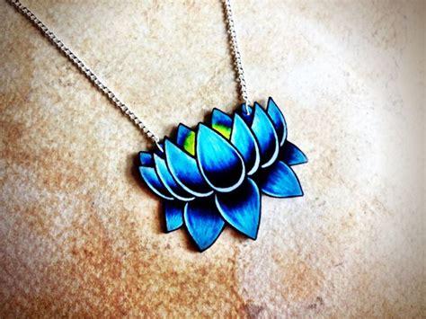 lotus tattoo jewelry tattoo necklace lotus bright aqua blue shaded dark blue