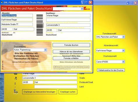 Word Vorlage Dhl Paketaufkleber Freeway Briefaufkleber Freeware De